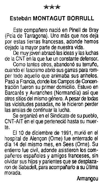 """Necrològica d'Esteve Montagut Borràs apareguda en el periòdic tolosà """"Cenit"""" del 15 de maig de 1992"""