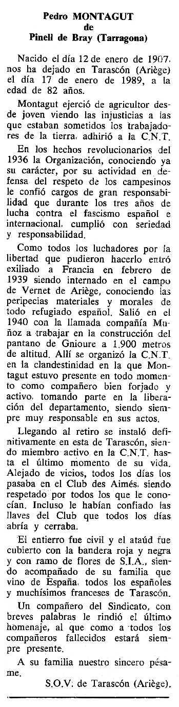 """Necrològica de Pere Montagut Ferruz apareguda en el periòdic tolosà """"Cenit"""" del 13 de juny de 1989"""