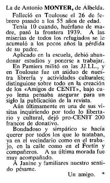 """Necrològica d'Antonio Monter Girón apareguda en el periòdic tolosà """"Cenit"""" del 14 d'abril de 1984"""