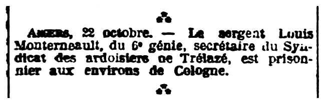 """Notícia sobre la captura de Louis Monternault apareguda en el diari de Rennes """"L'Ouest-Éclair"""" del 23 d'octubre de 1914"""