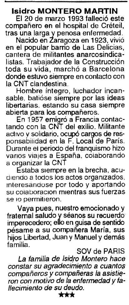 """Necrològia d'Isidor Montero Martín apareguda en el periòdic tolosà """"Cenit"""" del 20 d'abril de 1993"""