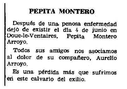 """Necrològia de Josefa Montero Girón apareguda en el periòdic parisenc """"Le Combat Syndicaliste"""" del 10 de juliol de 1969"""