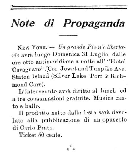 """Notícia sobre l'acte organitzat per a sufragar el fullet de Rocco Montesano publicat en el periòdic de Barre """"Cronaca Sovversiva"""" del 16 de juliol de 1904"""