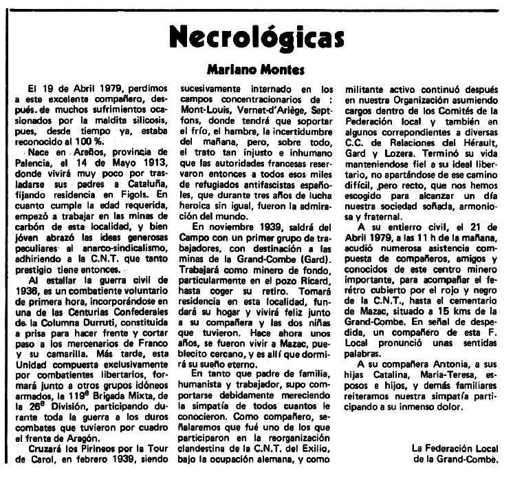 """Necrològica de Mariano Montes Mantilla apareguda en el periòdic tolosà """"Espoir"""" del 18 de novembre de 1979"""
