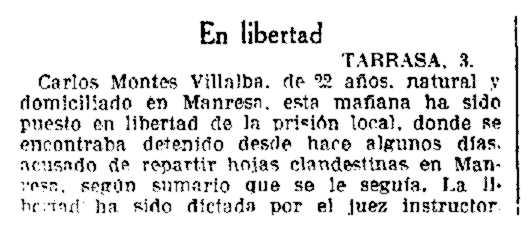 """Notícia de l'alliberament de Carlos Monte Villalba apareguda en """"La Vanguardia"""" del 7 de maig de 1935"""