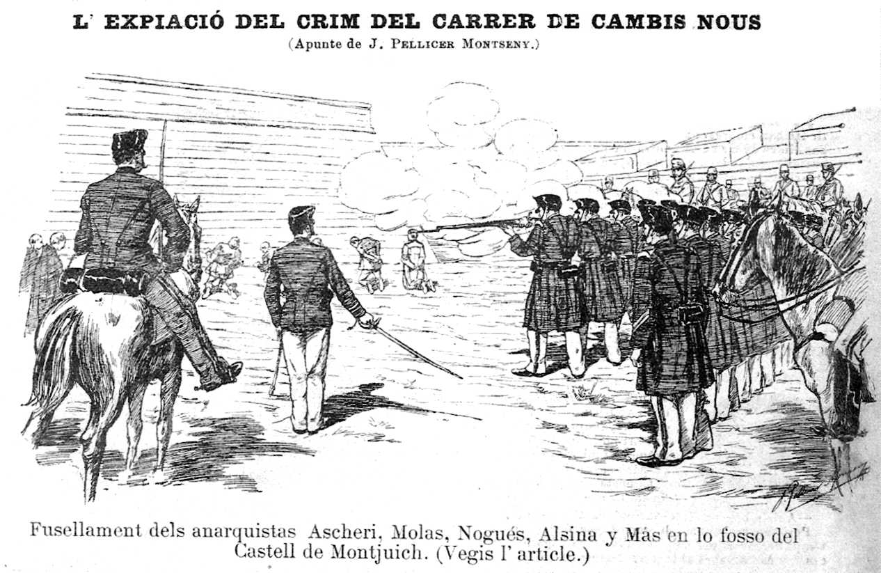 """El fusilamiento del 4 de mayo de 1897 según un dibujo de Joan Pellicer Montseny (""""La Campana de Gracia"""", 08-05-1897)"""