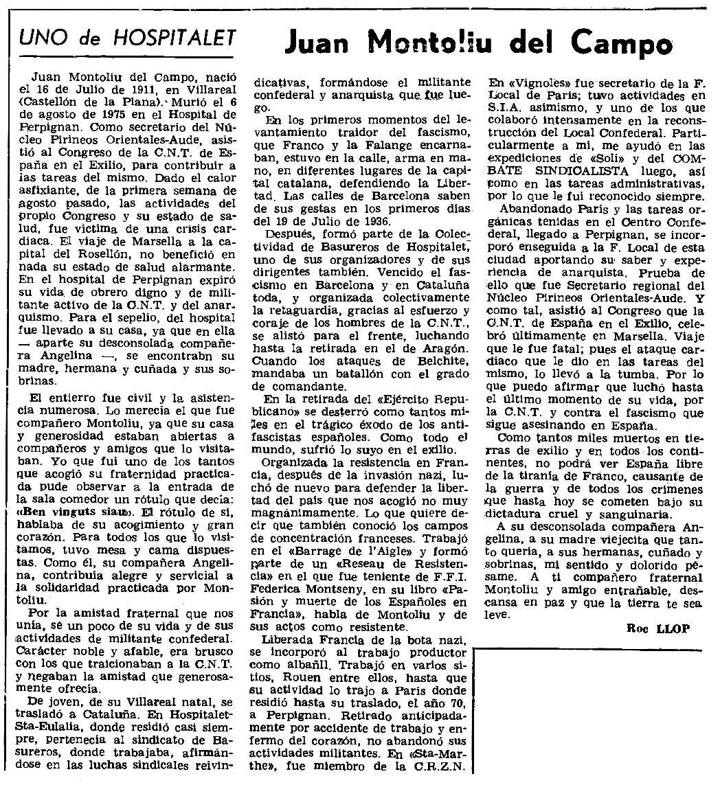 "Necrològica de Joan Montoliu del Campo apareguda en el periòdic parisenc ""Le Combat Syndicaliste"" del 30 d'octubre de 1975"