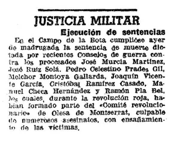 """Notícia de l'execució de Melchor Montoya Gallardo apareguda en """"La Vanguardia"""" de l'11 de març de 1943"""
