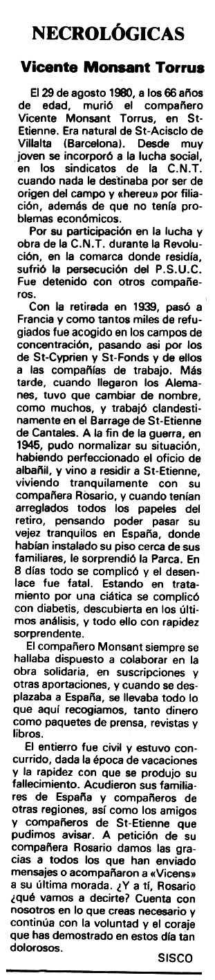 """Necrològica de Vicenç Monsant Torrús apareguda en el periòdic tolsà """"Espoir"""" del 8 de març de 1981"""