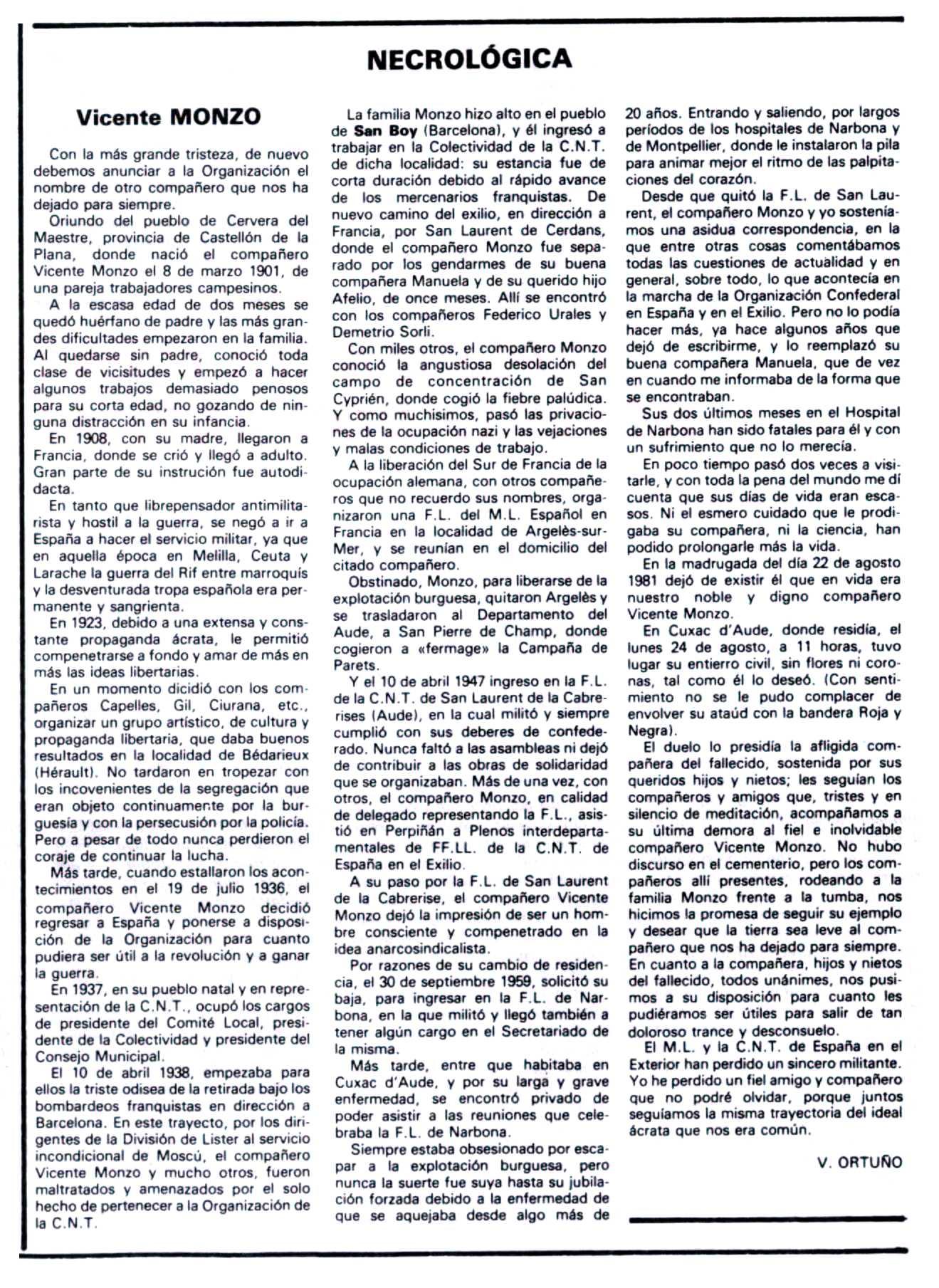 """Necrològica de Vicent Monzó Cervera apareguda en el periòdic tolosà """"Espoir"""" de l'11 d'octubre de 1981"""
