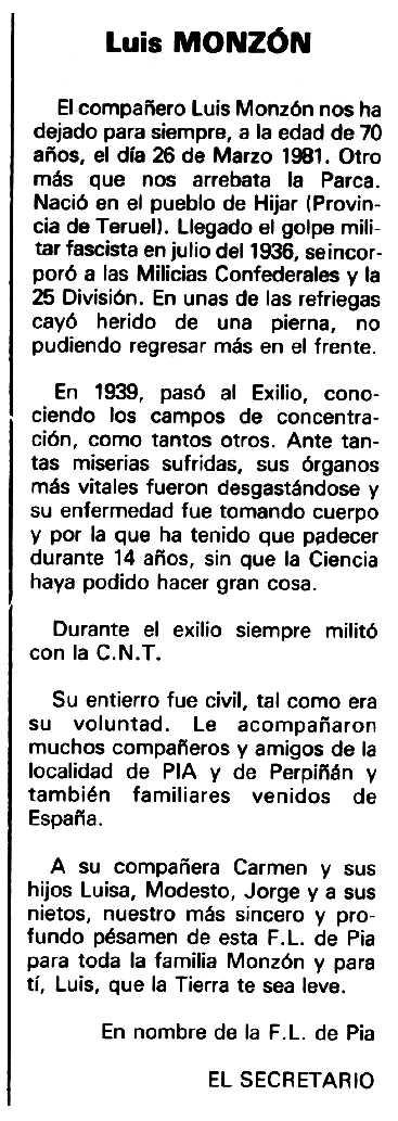 """Necrològica de Luis Monzón apareguda en el periòdic tolosà """"Espoir"""" del 26 d'abril de 1981"""