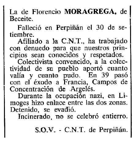 """Necrològica de Florencio Moragrega Adell apareguda en el periòdic tolosà """"Cenit"""" del 25 de novembre de 1984"""