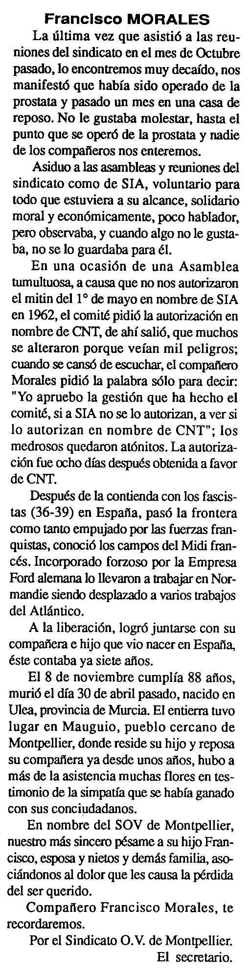 """Necrològica de Francisco Morales Salar apareguda en el periòdic tolosà """"Cenit"""" del 28 de maig de 1991"""