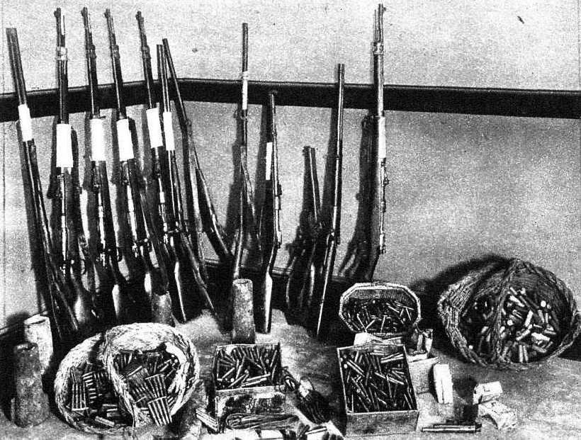 Dipòsit d'armes trobat al mas de Pere Morató Queraltó el 27 de juny de 1933
