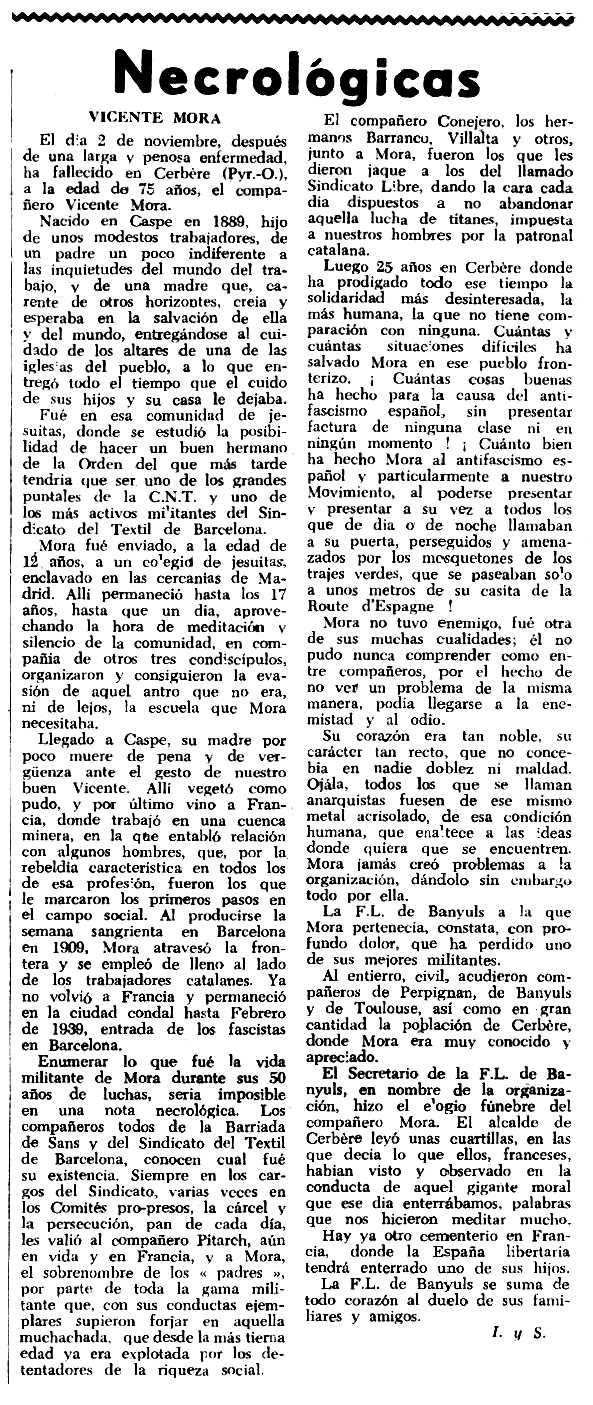 """Necrològica de Vicente Mora Samper apareguda en el periòdic tolosà """"Espoir"""" del 22 de novembre de 1964"""