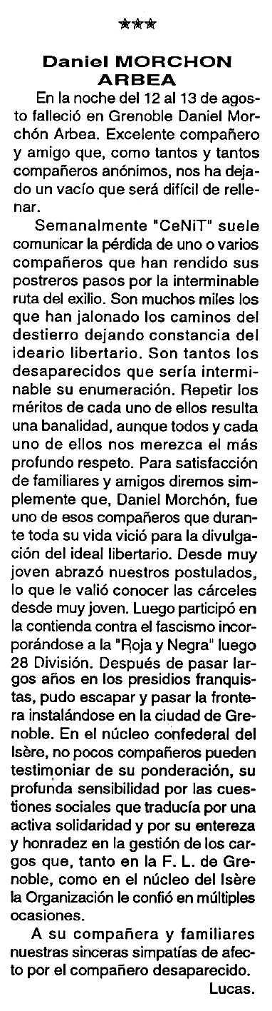 "Necrològica de Daniel Morchón Arbea apareguda en el periòdic tolosà ""Cenit"" del 27 de setembre de 1994"