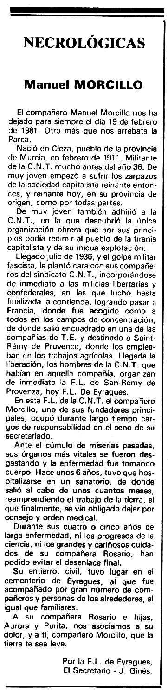 "Necrològia de Manuel Morcillo Egea apareguda en el periòdic tolosà ""Espoir"" del 29 de març de 1981"