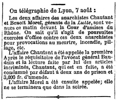 """Notícia del processament de Benoît Morel apareguda en el diari parisenc """"Le Radical"""" del 4 d'agost de 1883"""