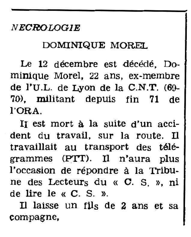 """Necrològica de Dominique Morel apareguda en el periòdic parisenc """"Le Combat Syndicaliste"""" de l'11 de gener de 1973"""