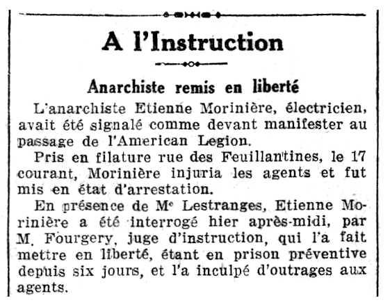 """Notícia de l'alliberament d'Étienne Moriniere apareguda en el diari francès """"Le Rappel"""" del 24 de setembre de 1927"""
