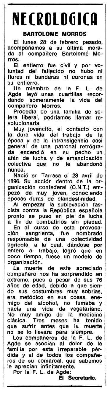 """Necrològica de Bartomeu Morros Miralles apareguda en el periòdic tolosà """"Espoir"""" del 16 de juliol de 1972"""
