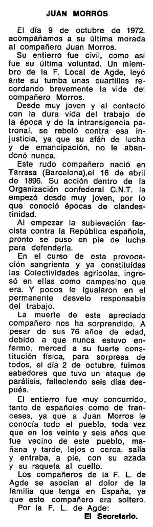 """Necrològica de Joan Morros Armengol apareguda en el periòdic tolosà """"Espoir"""" del 7 de gener de 1973"""