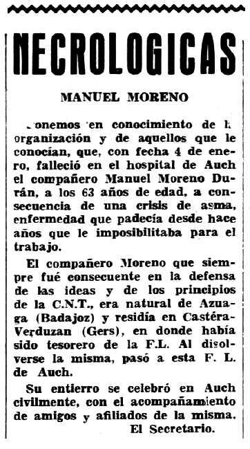 """Necrològia de Manuel Moruno Durán apareguda en el periòdic tolosà """"Espoir"""" del 25 de febrer de 1962"""