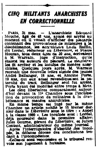 """Notícia del judici a Édouard Mouche apareguda en el diari de Nantes """"L'Ouest-Éclair"""" de l'1 de juny de 1920"""