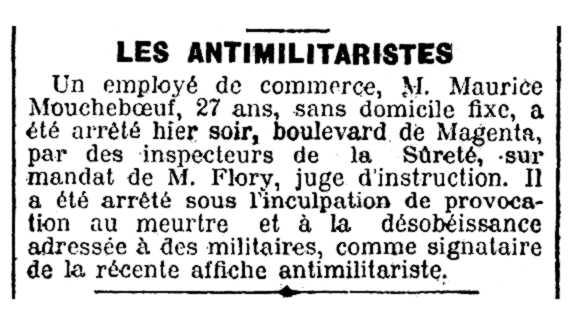 """Notícia de la detenció de Maurice Moucheboeuf apareguda en el diari parisenc """"Le XIXe Siècle"""" del 30 d'agost de 1907"""