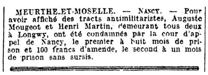 """Notícia de la condemna d'Auguste Mougeot apareguda en el diari parisenc """"La Matin"""" del 28 de febrer de 1926"""