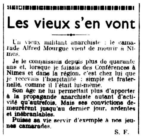 """Necrològica d'Alfred Mourgue, escrita per Sébastien Faure, publicada en el periòdic parisenc """"Le Libertaire"""" del 20 de setembre de 1935"""
