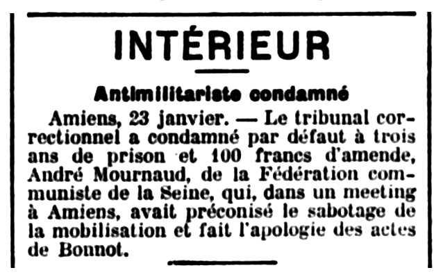 """Notícia de la condemna d'André Mournaud apareguda en el diari de Chartres """"Le Dépêche d'Eure-et-Loir"""" del 24 de gener de 1913"""