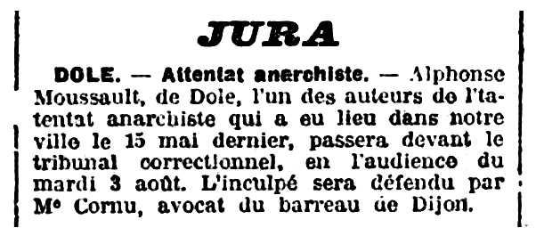 """Notícia sobre el processament d'Alphonse Moussault apareguda en el diari de Dijon """"Le Progrès de la Côte-d'Or"""" del 31 de juliol de 1909"""