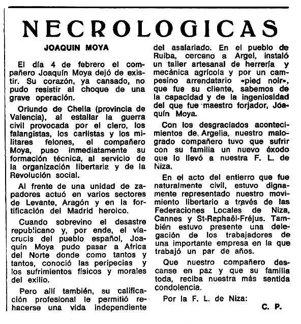 """Necrològia de Joaquín Moya Bellot apareguda en el periòdic tolosà """"Espoir"""" del 12 de novembre de 1977"""