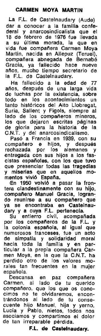 "Necrològica de Carmen Moya Martín apareguda en el periòdic tolosà ""Espoir"" de l'11 d'abril de 1976"