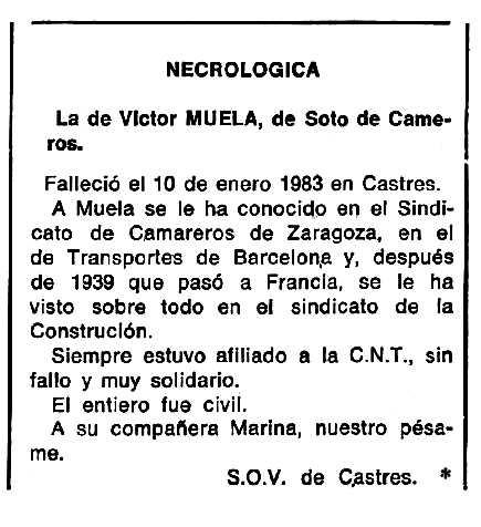 """Necrològica de Víctor Muela Íñiguez apareguda en el periòdic tolosà """"Cenit"""" de l'1 de març de 1983"""