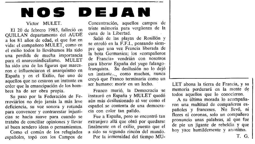 "Necrològica de Víctor Mulet Mur apareguda en el periòdic tolosà ""Cenit"" del 9 d'abril de 1985"