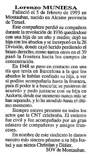 "Necrològica de Lorenzo Muniesa Muniesa apareguda en el periòdic tolosà ""Cenit"" del 6 d'abril de 1993"