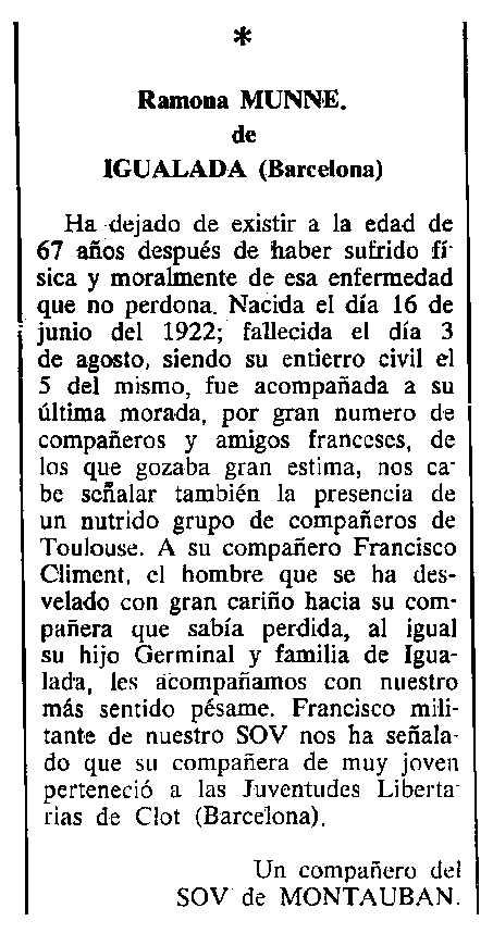 "Necrològica de Ramona Munné Colom apareguda en el periòdic parisenc ""Cenit"" del 24 d'octubre de 1989"