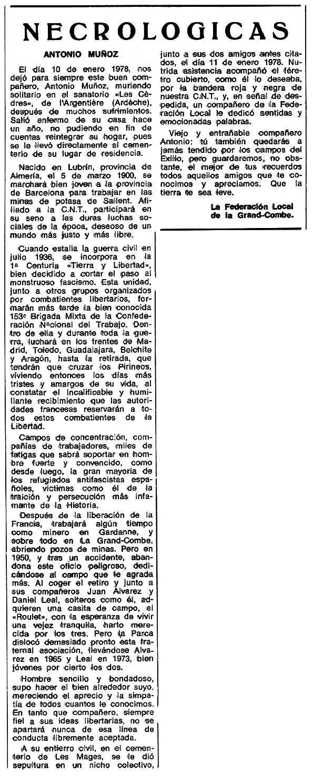 """Necrològica d'Antonio Muñoz Ramos apareguda en el periòdic tolosà """"Espoir"""" del 24 d'abril de 1978"""