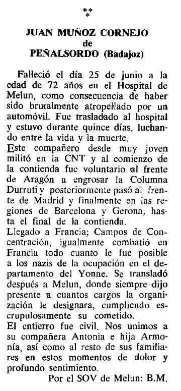 "Necrològica de Juan Muñoz Cornejo apareguda en el periòdic tolosà ""Cenit"" del 28 de novembre de 1989"