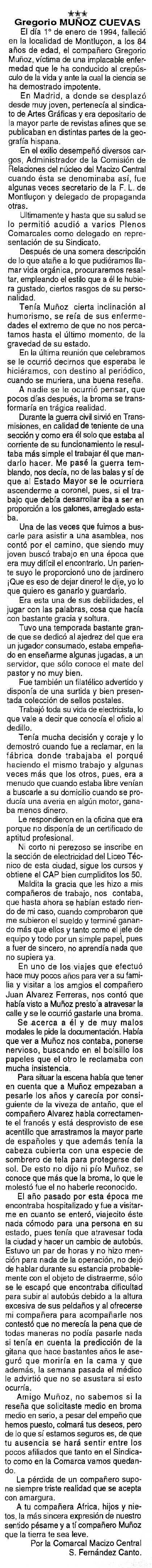 """Necrològica de Gregorio Muñoz Cuevas apareguda en el periòdic tolosà """"Cenit"""" del 25 de gener de 1994"""