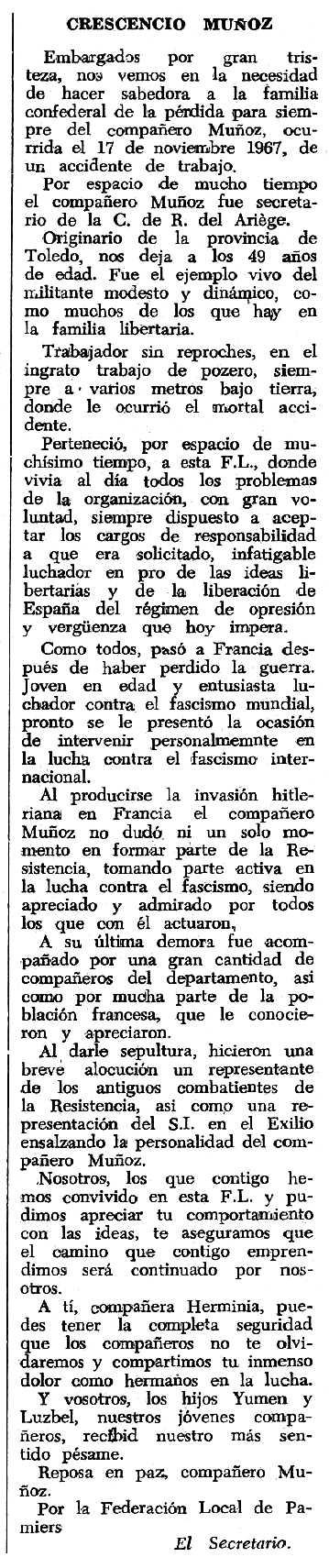 """Necrològica de Crescencio Muñoz Hernández apareguda en el periòdic tolosà """"Espoir"""" del 19 de novembre de 1967"""