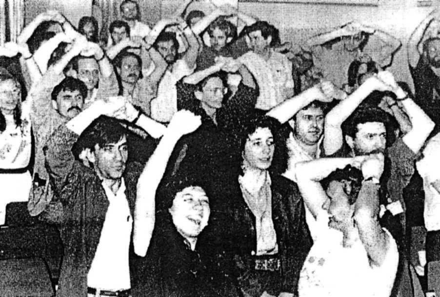 Josep Ramon Muñoz Sisó (primer per l'esquerra de la filera de davant) en el IV Congrés de la CGT de Catalunya (Lleida, 1992)