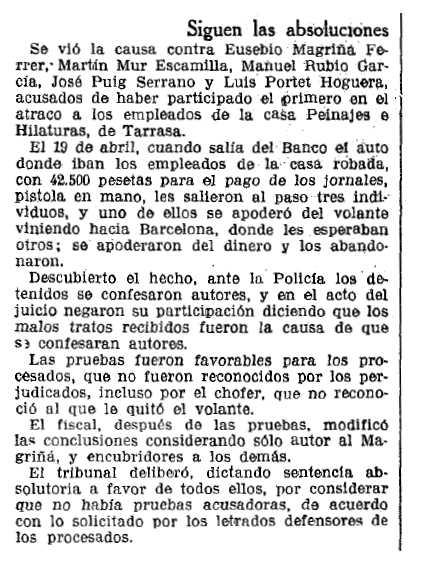 """Notícia de l'absolució de Martín Mur Escamilla publicada en el diari barceloní """"La Vanguardia"""" del 14 de juliol de 1935"""