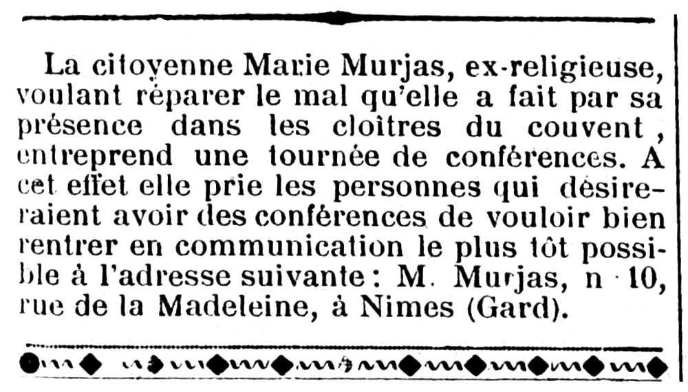 """Notícia d'una de les conferències de Marie Murjas apareguda en el periòdic marsellès """"La Calotte"""" del 7 d'abril de 1901"""