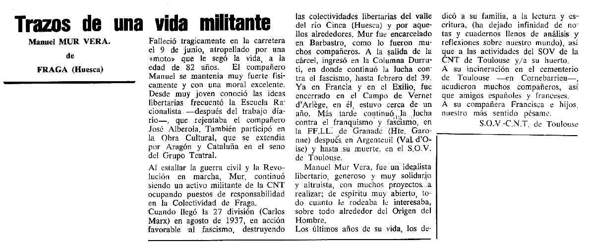 """Necrològica de Manuel Mur Vera apareguda en el periòdic tolosà """"Cenit"""" del 17 d'octubre de 1989"""