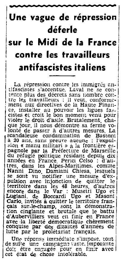 """Notícia sobre la repressió contra Ugo Musetti i altres companys apareguda en el periòdic comunista marsellès """"Rouge Midi"""" del 7 de desembre de 1935"""