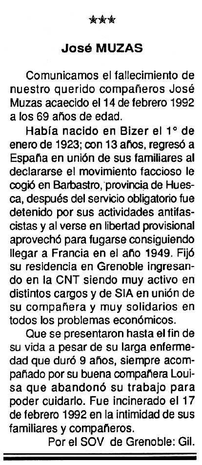 """Necrològica de José Muzas apareguda en el periòdic tolosà """"Cenit"""" del 24 de març de 1992"""