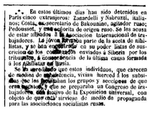 Notícia de la detenció de Ludovico Nabruzzi apareguda en el periòdic madrileny «El Globo» del 28 de març de 1878